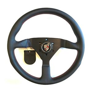 Momo Steering Wheel Monte Carlo Black Leather Red Stitch Porsche Horn Button