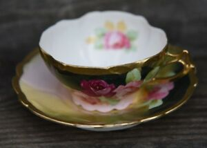 Vintage Newport Belle Germany Hand Painted Cabbage Rose Tea Cup Saucer Gold Gilt