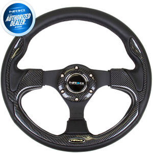 New Nrg Steering Wheel Leather Carbon Fiber Look Inserts Pilota Style Rst 001cbl