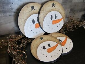 Primitive No Wood Stove Oven Burner Cover Snowman Black Tan Crackle Country Star