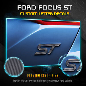 2013 2019 Ford Focus St Overlay Decal Emblems Front Back Matte Carbon Fiber