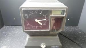 Amano Tcx 21 Timeclock With Working Key Great Shape