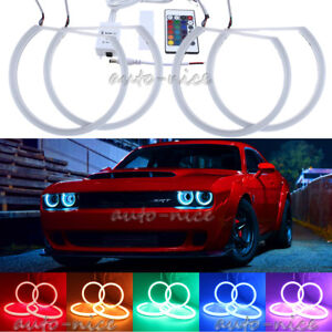 4x Rgb 16 Color For Dodge Challenger Headlight Cotton Led Angel Eyes Halo Rings