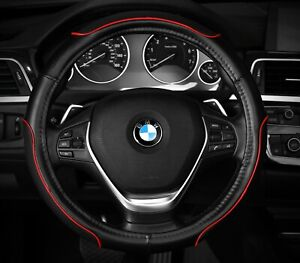 Steering Wheel Cover Black Red New Pu Leather Line Fit 14 5 15 5 m