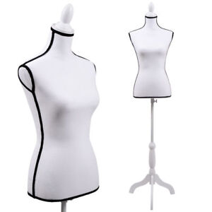 Female Mannequin Torso Dress Form Display W White Tripod Stand Hollow Foam