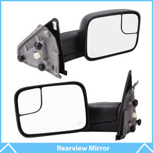 Pair Towing Power Heated Side View Mirrors For 02 08 Dodge Ram 1500 2500 3500