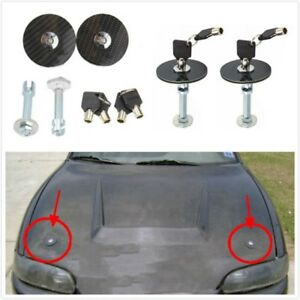 2pcs Universal Car Carbon Fiber Mount Bonnet Hood Lock Pins Kit With Key Gl