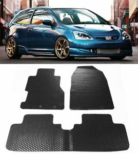 For 2002 2005 Honda Civic Si Hb All Weather Black Rubber Floor Mats Front Rear