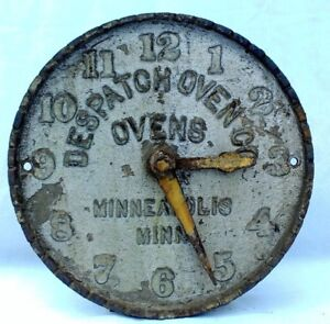 Antique Cast Iron Despatch Ovens Clock Face Industrial Advertising Sign Vintage