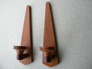 Vintage Mid Century Modern Walnut Wood Candle Wall Sconce Pair