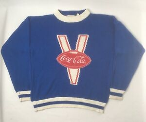 VTG Coca Cola Varsity Football Long Sleeve Blue Knit 70s Large Sweater RARE R