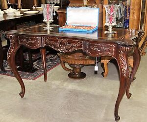 French Louis Xv Style Mahogany Ladies Leather Top Writing Desk With Gold Detail