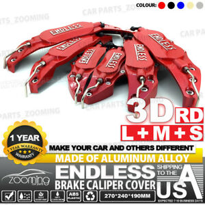 Metal 3d Endless Universal Style Brake Caliper Cover 6pcs Red L m s Lw02