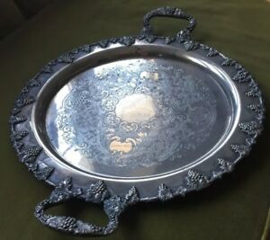 Large 19 Antique Silver On Copper Butler S Hostess Tray Grapes Leaves Vines