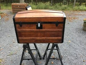Antique Steamer Trunk Restored Dome Style