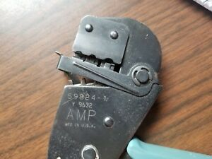 Amp 59824 1 Y 9632 Crimping Tooling With Ratcheting Handle Very Good Condition