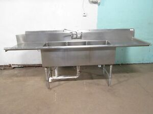 H d Commercial S s 103 l 3 Compartment Sink W faucet Outside Drain Handle