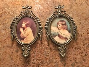 2 Vintage Small Ornate Oval Metal Picture Frame Girls Made In Italy