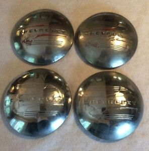 Vintage Set Chevrolet 1941 1947 Hubcaps Wheel Covers For Hot Rod Steel Wheel