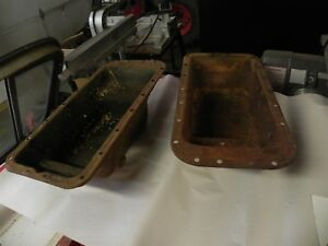 Vintage Henry J Willy s 134 Engine Oil Pans 2x Both Pair All Antique Used Nice