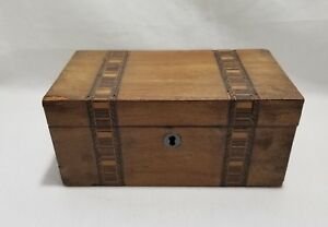 Antique Wooden Box Detail Inlay Lockable No Key 2 Compartments Treasure Chest