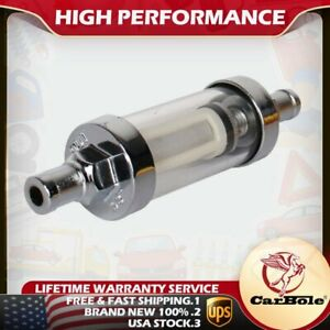 Carbole 9748 Hot Universal Fuel Filter Clear View Inline 3 8 Chrome Hose Barb