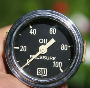 Vintage Stewart Warner 2 1 16 Big Logo Block Oil Pressure Gauge Curved Glass