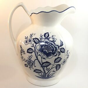 Vintage Pitcher Large Cobalt Blue White Floral Pitcher Antique Japan