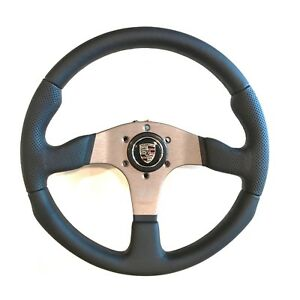 Momo Race Steering Wheel Black Leather 350mm With Porsche Horn Button Rce35bk1b