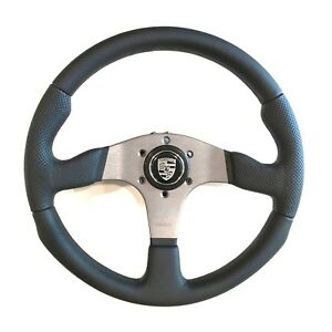 Momo Race Steering Wheel Black Leather 350mm Silver Porsche Horn Button Rce35bk1