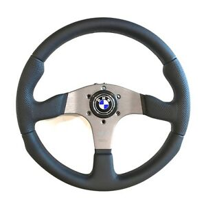 Momo Race Steering Wheel Black Leather 350mm With Bmw Logo Horn Button Rce35bk1