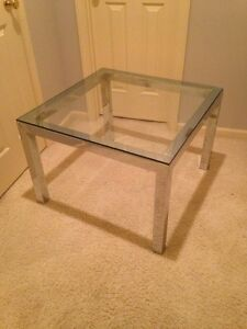 Mid Century Modern Chrome Glass Coffee Lg End Table Milo Baughman Paul Mayen Era