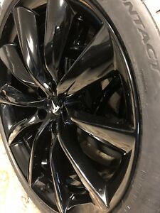4 Tesla Model X 22 Inch Wheels Tires Rims Tpms Factory Oem Gloss Black Flawless