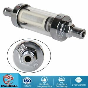 Universal Fuel Filter Clear View Inline 3 8 Chrome Hose Barb