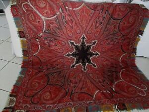 Antique 19th C Paisley Wool Tapestry Textile Coverlet Heavy Shawl 72 X 72
