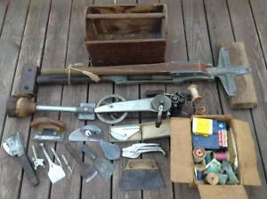 Antique Carpet Tool Set Singer Machine 35 2 Roberts Stretcher Senior Huge Lot