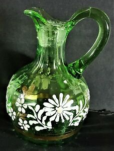 Antique Hand Blown Green Glass Pitcher Hand Painted No Stopper