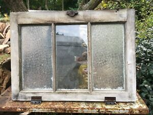 Vintage Window Sash Frosted Glass Wood Frame 29in X21in X 1 5in 3pain Window