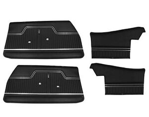 1970 1971 1972 Chevelle Front Rear Convertible Interior Door Panels Black