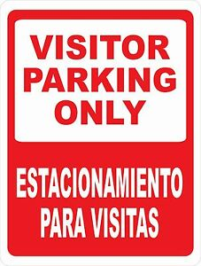 Bilingual Visitor Parking Sign Size Options English Spanish Signo