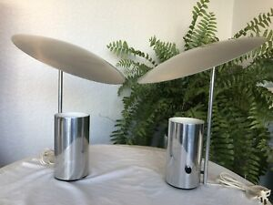 Vintage George Nelson Half Nelson Pair Chrome Lamps For Koch Lowy Midcentury