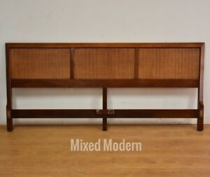 American Of Martinsville Walnut And Cane King Headboard Bed Mid Century Modern