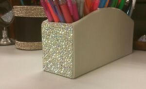 Bling Ab Crystal Rhinestone Pencil Holder Desk Accessories Makeup Cosmeti