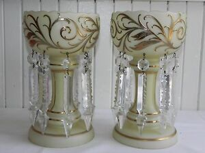 Antique Pair 8 5 Bohemian Opaline Glass Mantel Lusters Lustres Crystal Spears