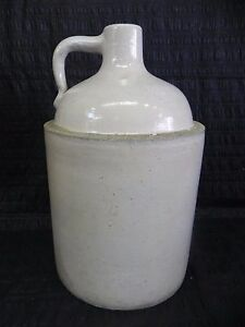 Antique Circa 1890 White Western Macomb Stoneware Co Jug 14 5
