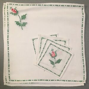 Antique Vintage French Hand Embroidered Roses On Linen Table Set