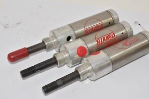Lot Of 3 Bimba 121 r Pneumatic Cylinder Single Acting 1 1 4in Bore