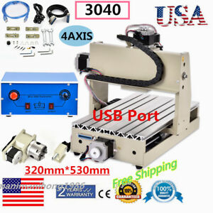 4 Axis3040 Usb Cnc Router Engraver Engraving Cutter T screw Desktop Cutting Usa