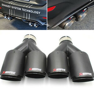 2 X Akrapovic Carbon Fiber Exhaust Tip Dual Pipe Black Id 2 5 63mm Od 3 5 89mm