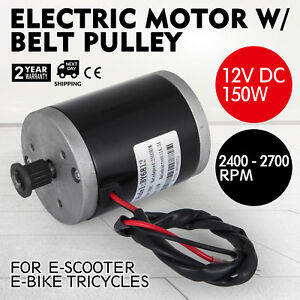 Electric Motor 12v Dc Motor With Belt Pulley 150w Shaft 8 Mm 3m 16t Railway